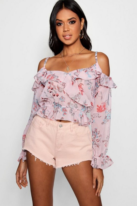 Off The Shoulder Frill Top With Long Sleeves