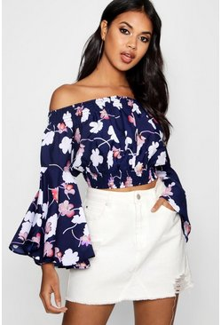 Womens Navy Shirring Bardot Crop Top With Flare Sleeves