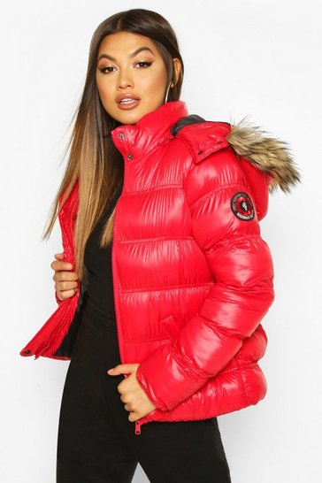 9603e8695 High Shine Hooded Padded Coat With Faux Fur Trim