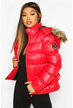 Womens Red High Shine Hooded Padded Coat With Faux Fur Trim