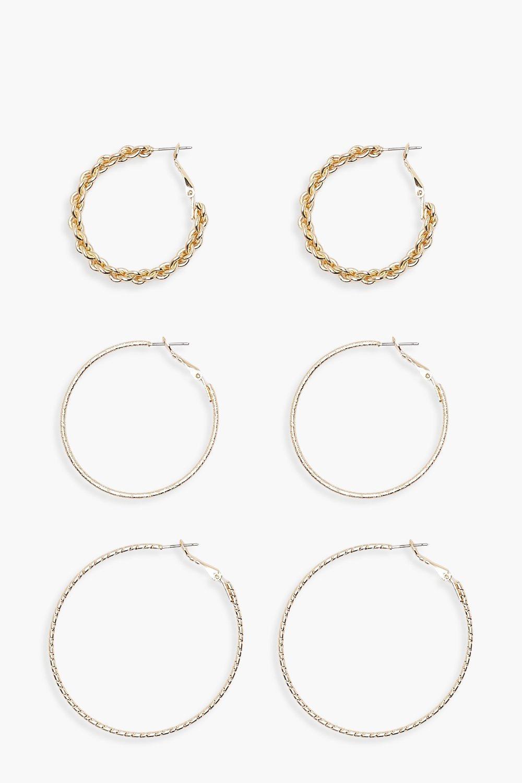 prezzo limitato prezzo folle migliore collezione Amy confezione da tre paia di orecchini a cerchio di varie misure | Boohoo