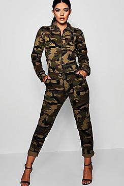 Camo Denim Boiler Suit