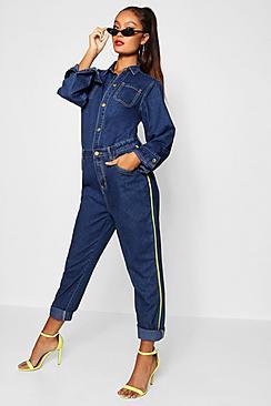 Yolanda Sport Stripe Skinny Boiler Suit