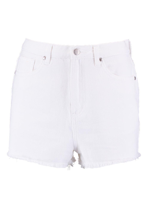 con color de Shorts alta deshilachado crudo dobladillo cintura crudo AqHFBnFRt