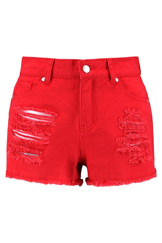 Boohoo Selling well all over the world Pantalones cortos denim desgastados de color rojo Boohoo - Denim Comprar HVRQFDA