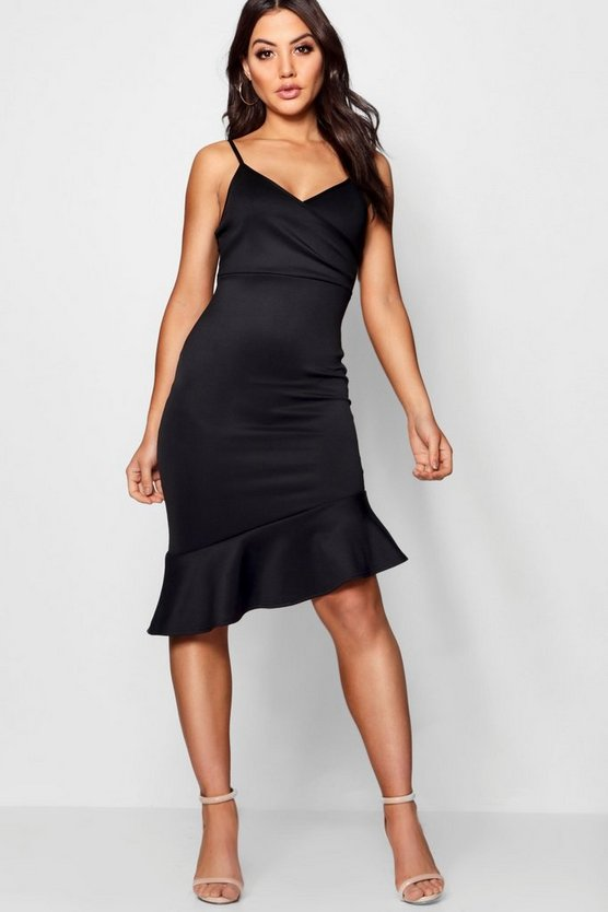 Cowl Neck Asymmetric Ruffle Midi Dress
