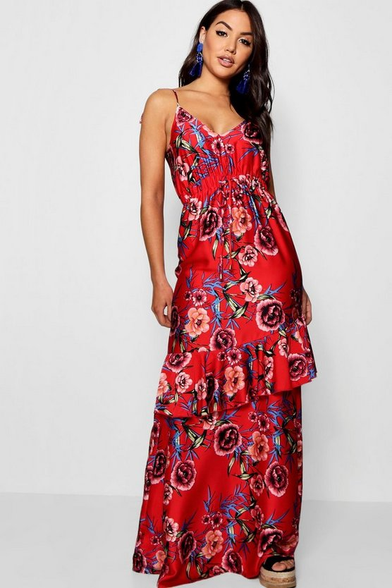 Satin Floral Ruffle Maxi Dress