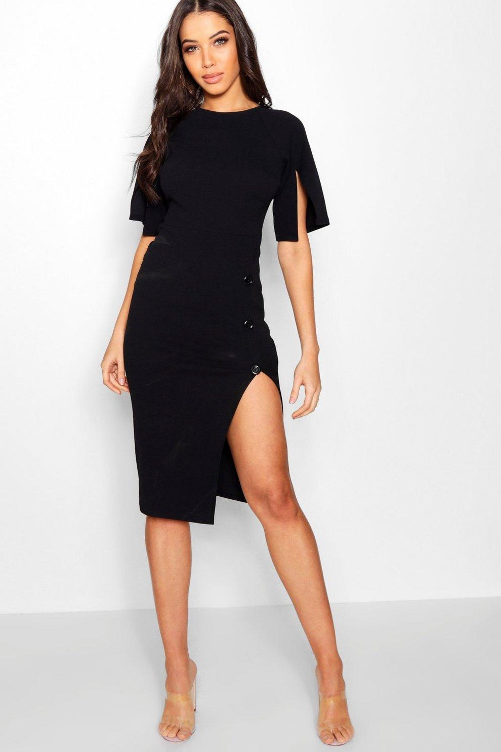 22c9b1833f86 Womens Black Split Sleeve Button Midi Dress. Hover to zoom