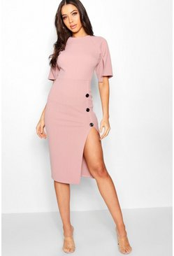 Womens Mink Split Sleeve Button Midi Dress