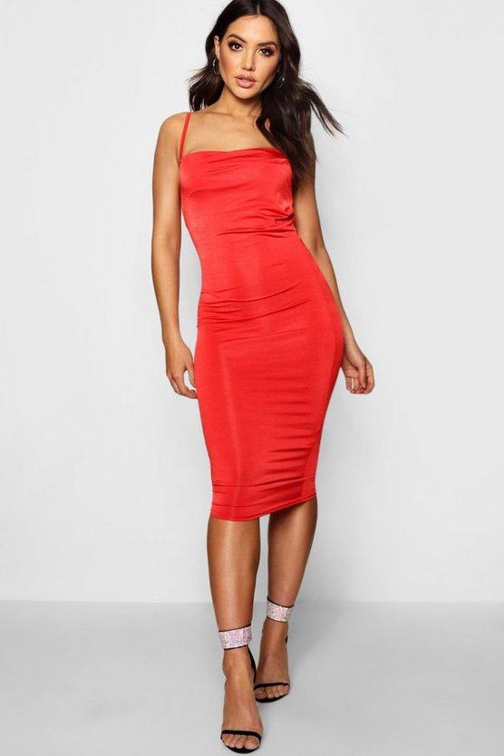 Strappy Slinky Cowl Neck Midi Dress