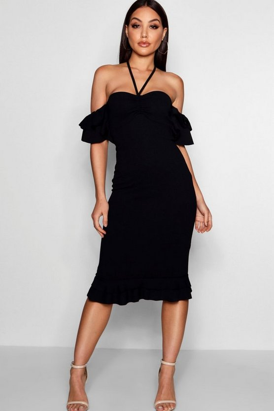 Double Ruffle Off The Shoulder Midi Dress