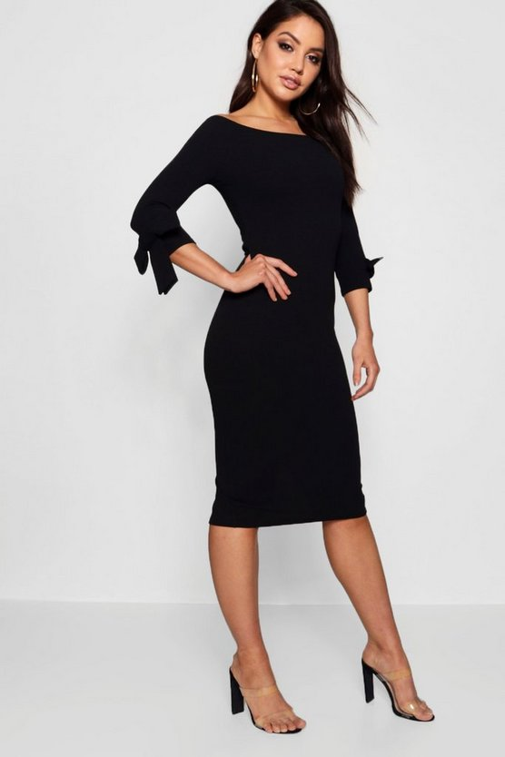 Womens Black Off The Shoulder Contrast Bow Midi Dress