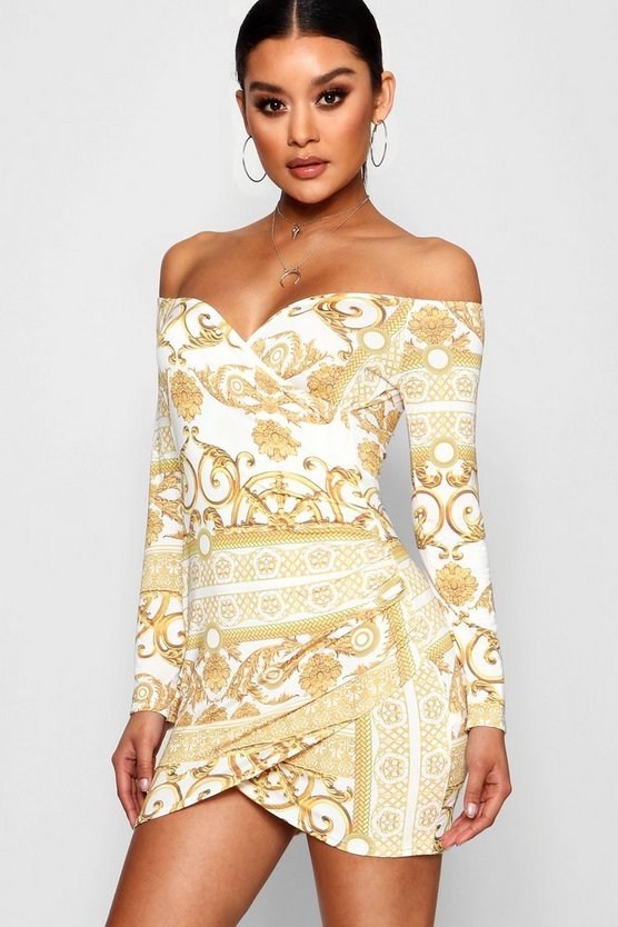 Womens White Scarf Print Off the Shoulder Wrap Dress