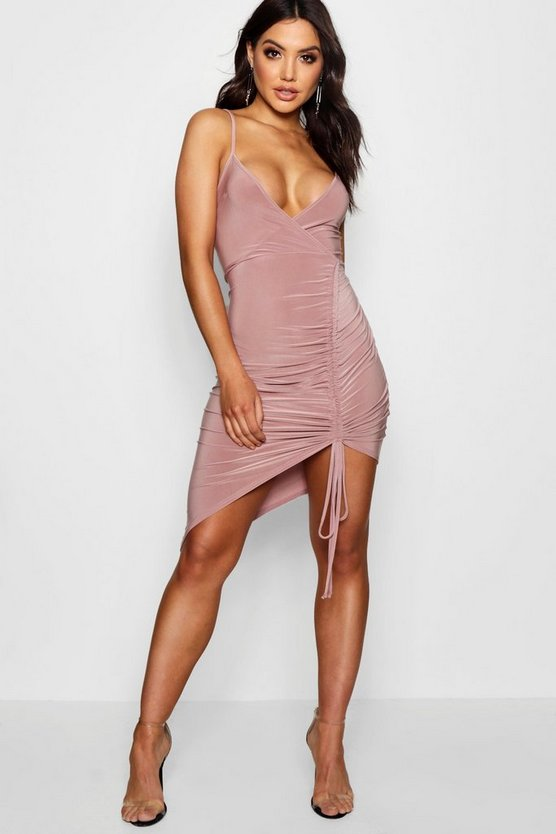 Ruched Plunge Neck Bodycon Dress
