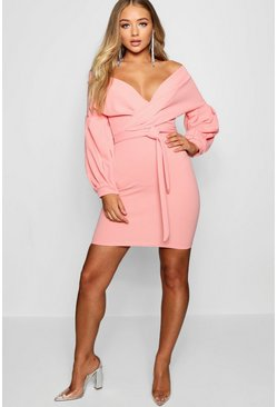 Womens Coral blush Off the Shoulder Bodycon Dress
