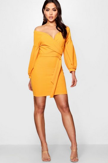 Womens Orange Off the Shoulder Bodycon Dress