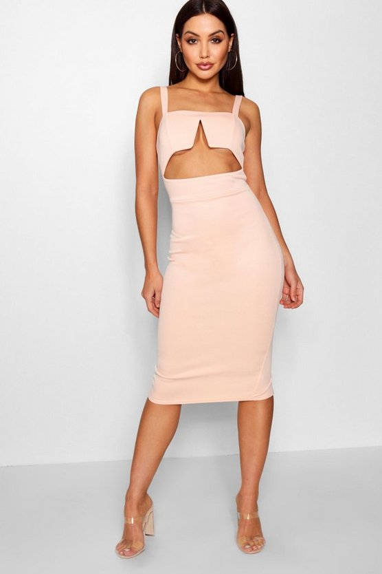 Square Neck Strappy Cut Out Midi Dress