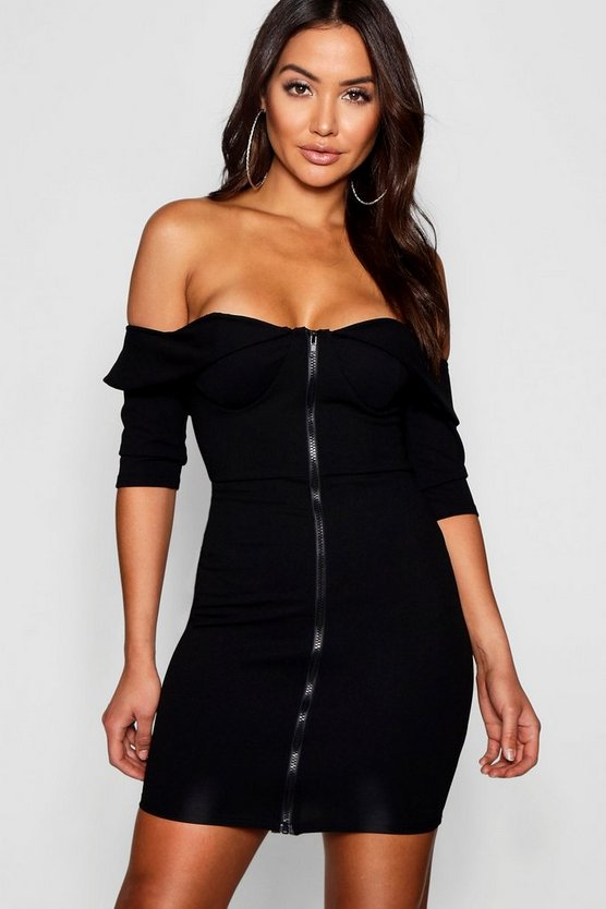 Bardot Corset Detail Bodycon Dress
