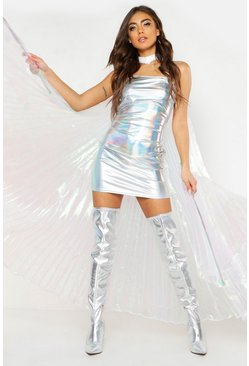 Womens Silver Kaya Holographic O Ring Bodycon Dress