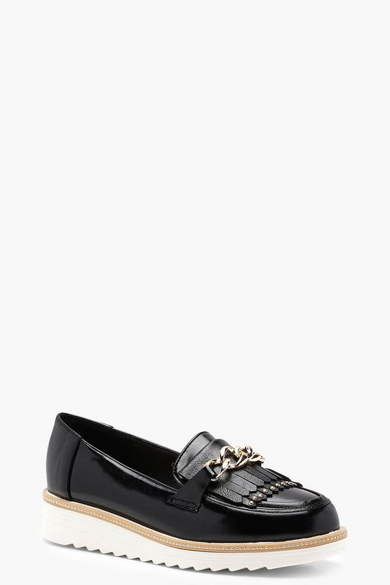 Chain and Trim Cleated Loafers