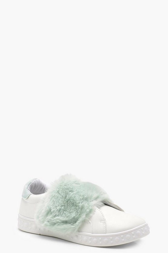 Faux Fur Strap Trainers