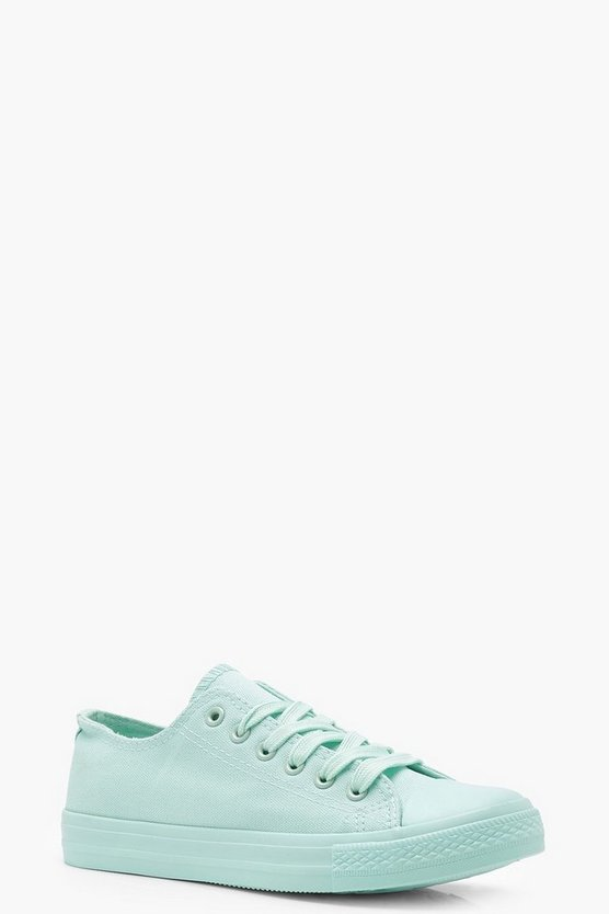 Womens Mint Tonal Pastel Lace Up Pumps