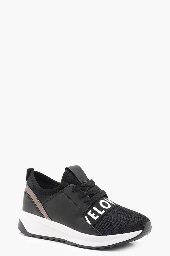 Love Slogan Strap Trainers
