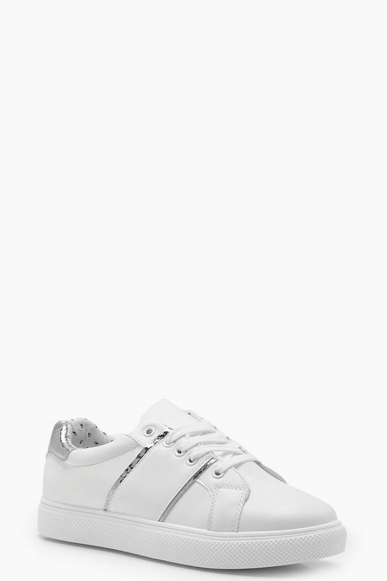 Womens Silver Stripe Side Trainers