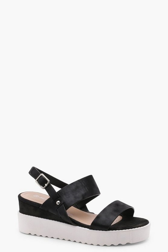 Womens Black Cleated Flatform Sandals