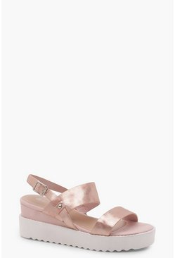 Womens Blush Cleated Flatform Sandals