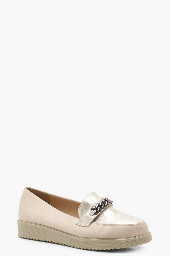 Chain Detail Cleated Loafers