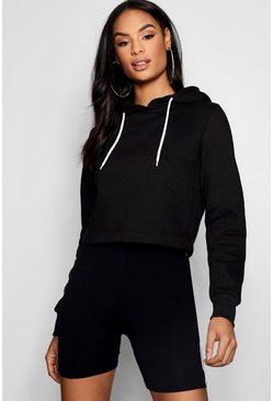 Womens Black Athleisure Oversized Crop Hoodie