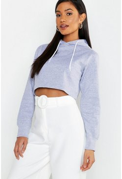 Womens Grey marl Athleisure Oversized Crop Hoodie