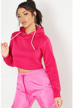 Sweat-shirt à capuche court Athleisure, Hot pink, Femme