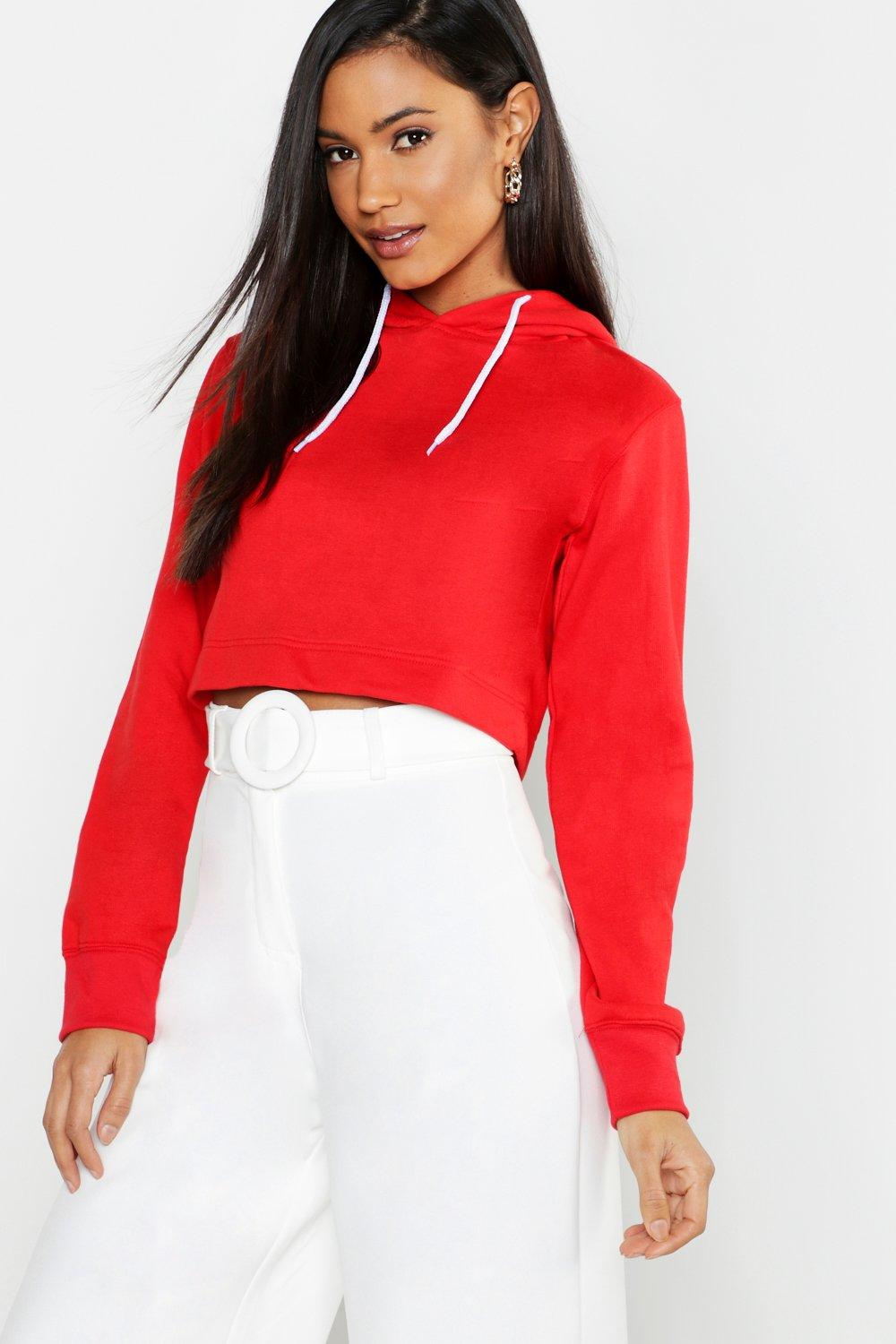 red Hoodie Crop Athleisure Crop Athleisure BFqBTSzO