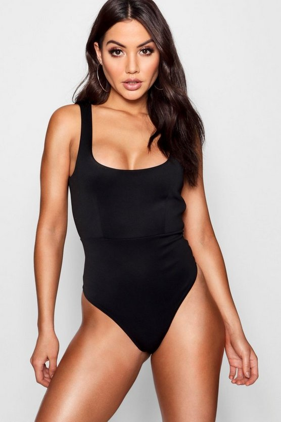 Black Scuba Thong Bodysuit