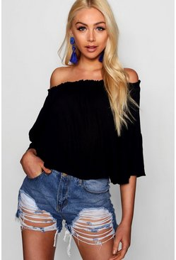 Womens Black Off The Shoulder Top With Flared Sleeve
