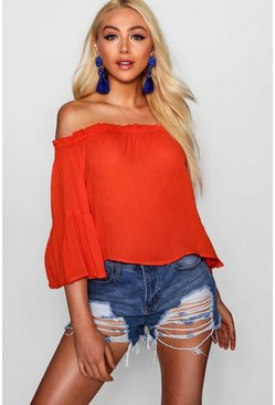 Womens Tomato Off The Shoulder Top With Flared Sleeve