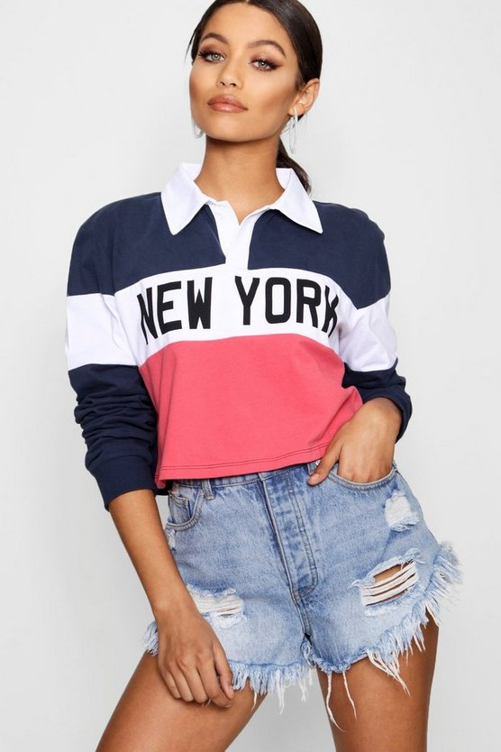 Womens Navy New York Stripe Rugby Top