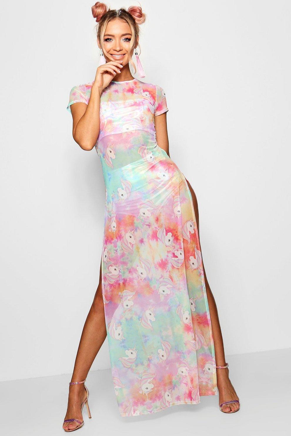 f69a07a0b44 Unicorn Tie Dye Printed Mesh Maxi Dress