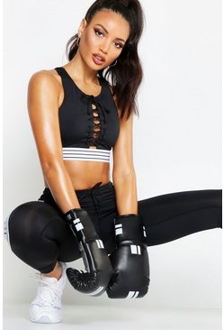 Womens Black Fit Lace Up Stripe Elastic Sports Set