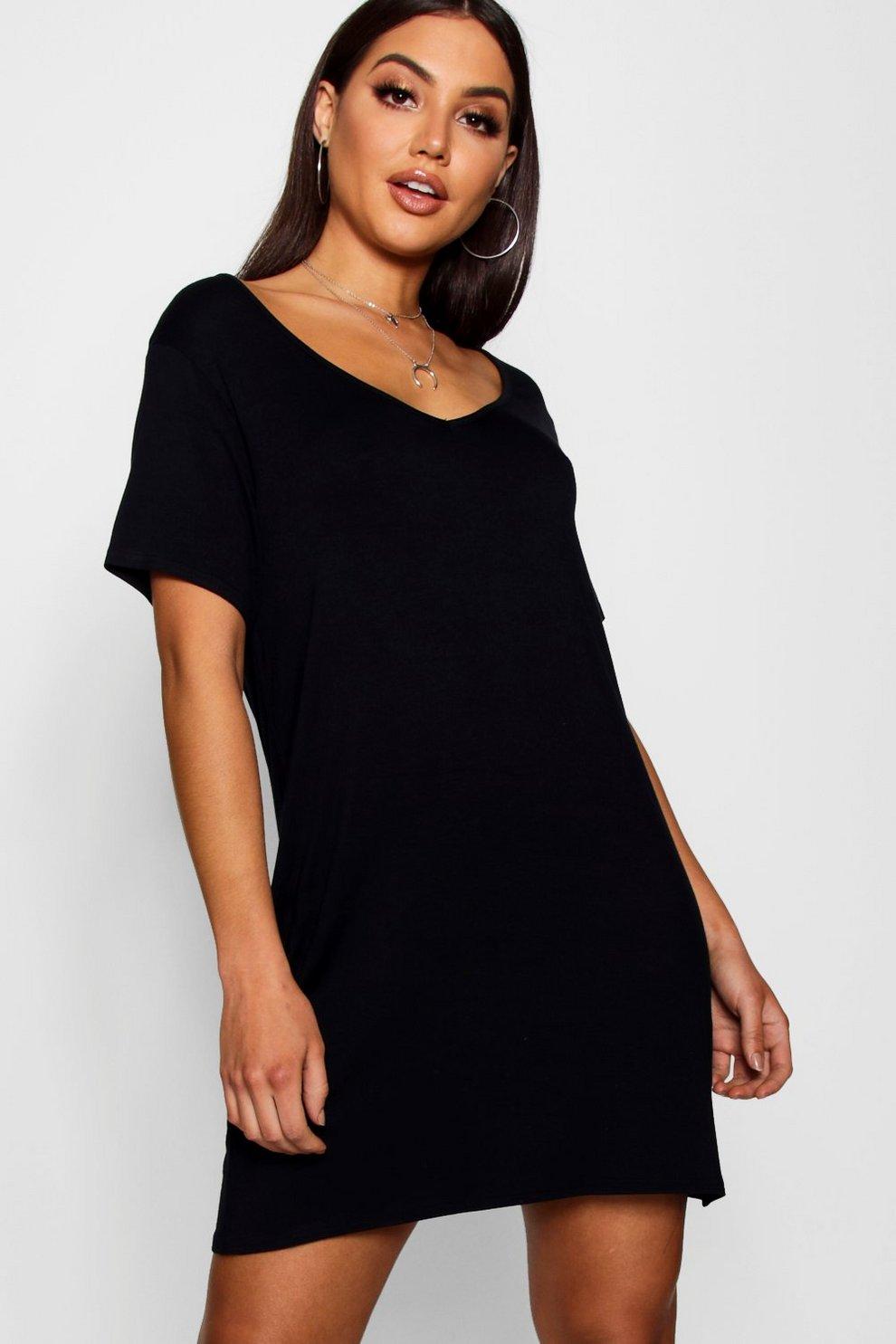 33de6c77d7 T-Shirt-Kleid mit V-Ausschnitt, Schwarz, Damen