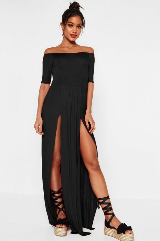 Half Sleeve Double Front Split Maxi Dress