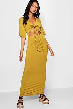 Kimono Sleeve Knot Front Maxi Dress