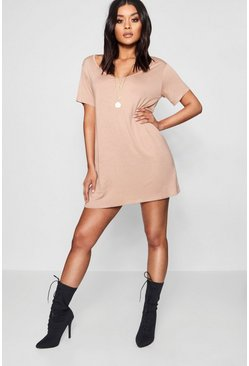 Womens Stone V Neck Tshirt Dress