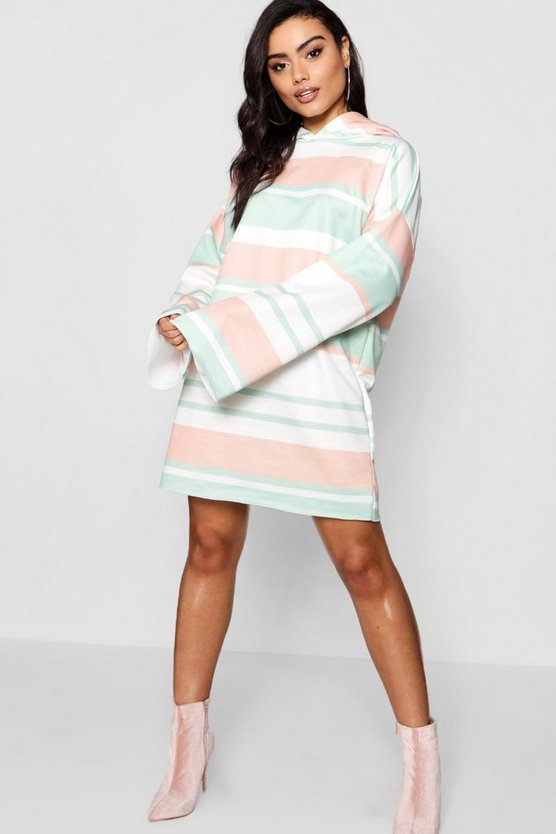 Wide Sleeve Stripe Hooded Sweat Dress