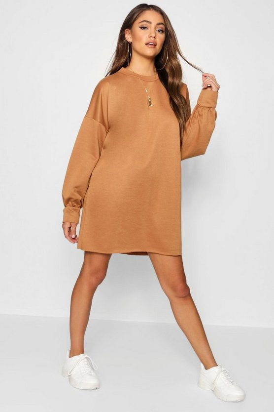 Womens Camel The Perfect Oversized Sweat Dress