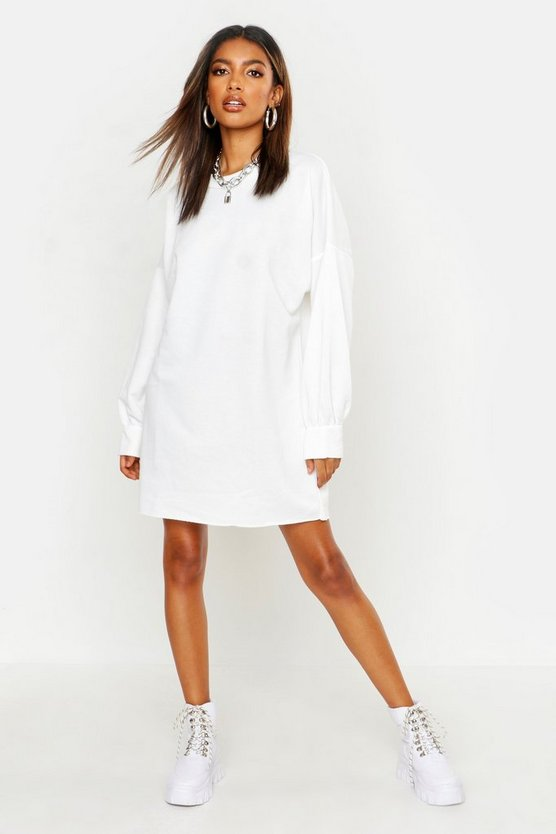 Abito felpato oversize The Perfect, Bianco, Femmina