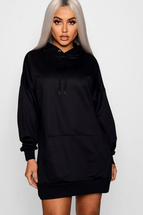 Womens Black The Perfect Oversized Hooded Sweat Dress