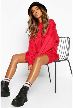 Womens Red The Perfect Oversized Hooded Sweat Dress
